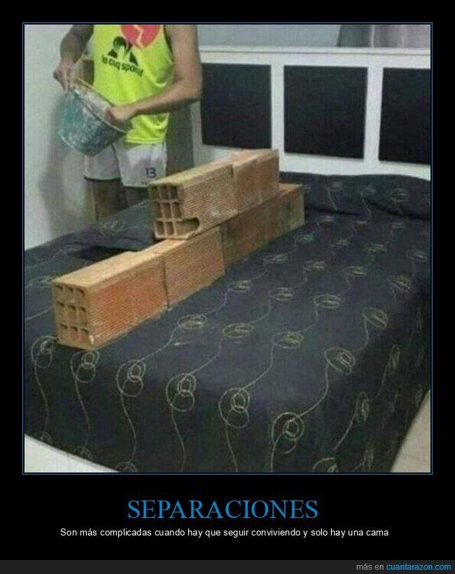 cama,ladrillos,separación