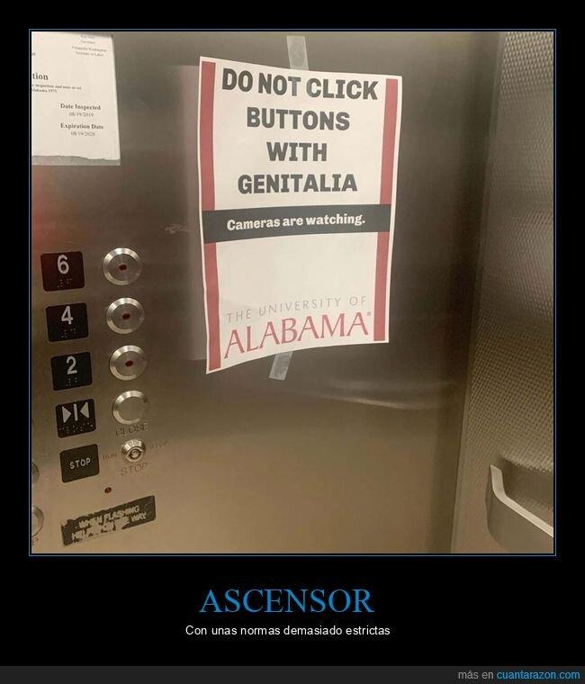 ascensor,botones,carteles,wtf