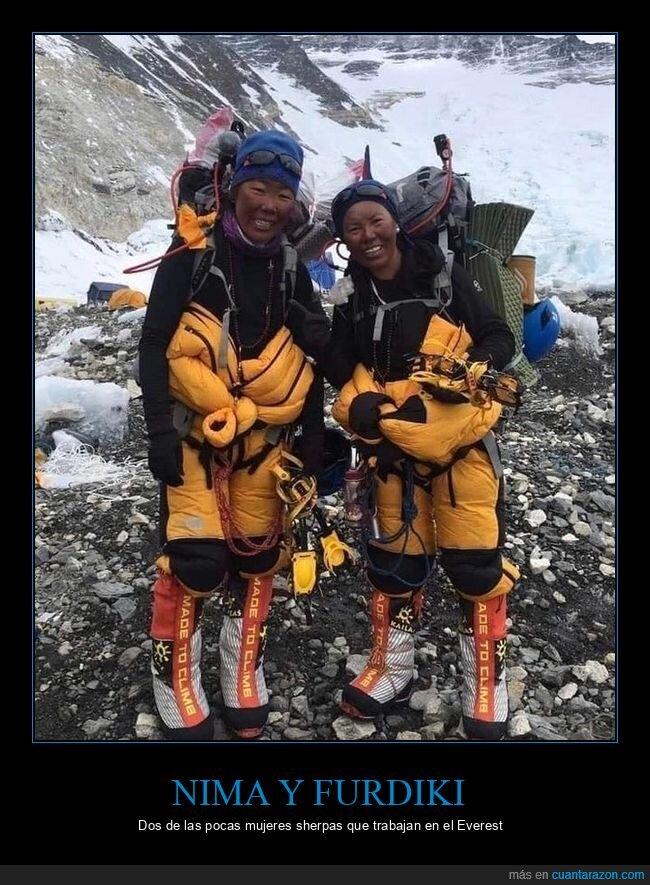 everest,mujeres,nima y furdiki,sherpas
