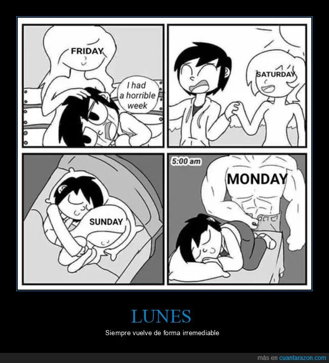 fin de semana,lunes,viernes