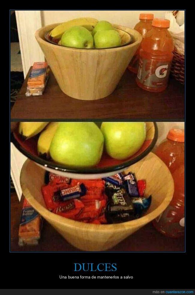 dulces,esconder,frutas