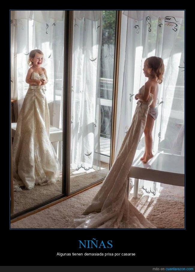boda,espejo,niña,vestido