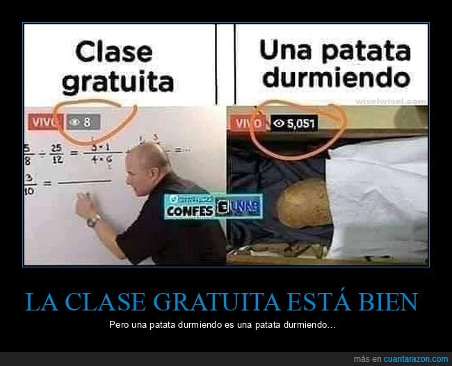 clase online,durmiendo,gratis,patata,visualizaciones