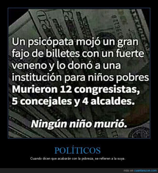 billetes,políticos,veneno