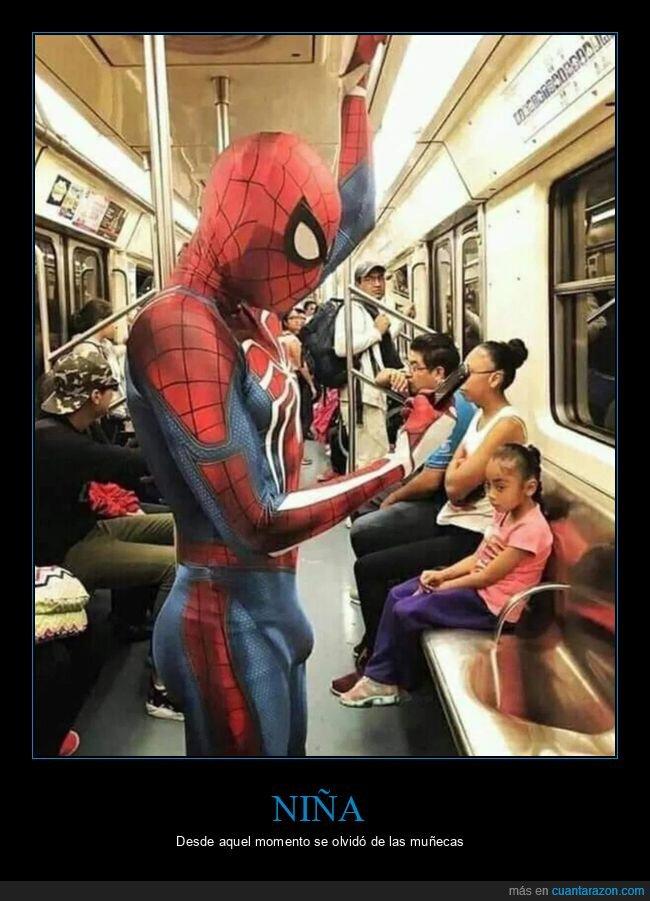 disfraz,mirando,niña,spiderman
