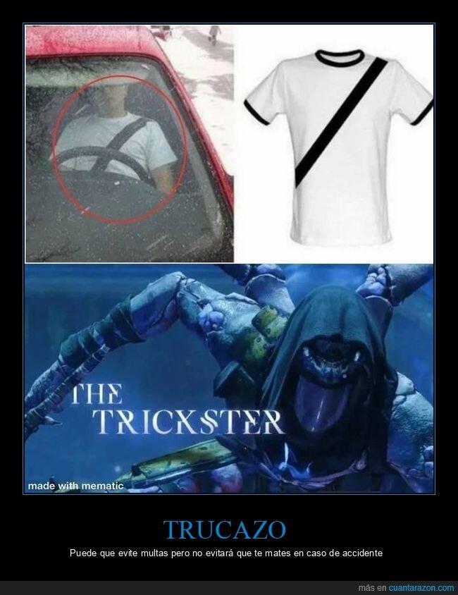 camiseta,cinturón de seguridad,coche,truco