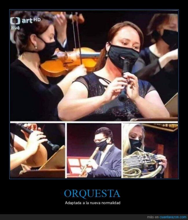 coronavirus,mascarillas,orquesta