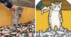 Enlace a Divertidas fotos de gatos famosas en internet convertidas en ilustraciones, por Tactooncat