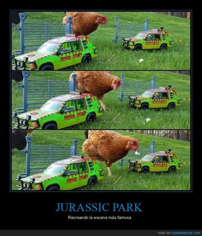 coches,gallina,jurassic park
