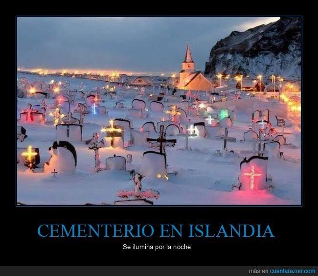 cementerio,islandia,luces
