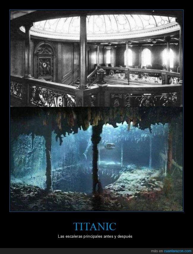 antes,después,escaleras,titanic