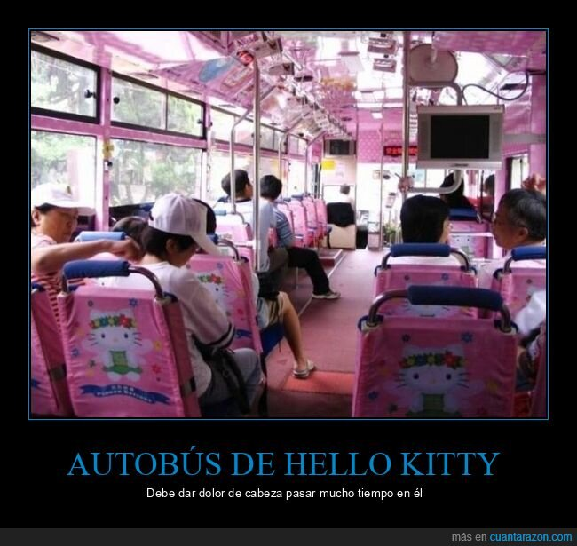 autobús,hello kitty,rosa