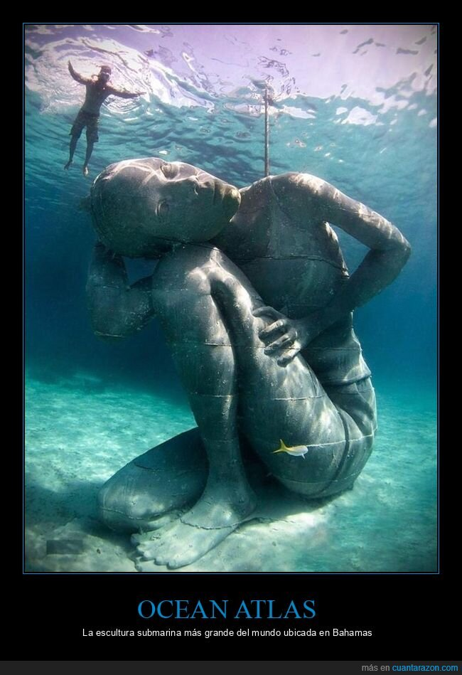 escultura,grande,ocean atlas,submarina