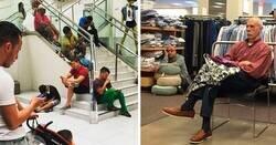 Enlace a Hombres aburridos y derrotados esperando a que sus esposas hagan las compras