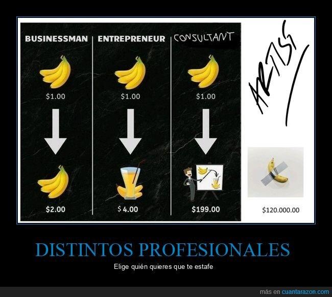 artista,consultor,emprendedor,empresario,plátano,precios