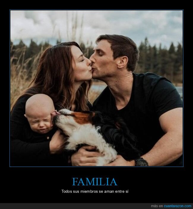 bebé,besos,familia,padres,perro