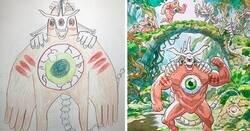 Enlace a Padre convierte los dibujos de sus hijos en impresionantes ilustraciones dignas de un anime