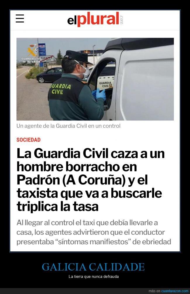 borracho,conductor,galicia,guardia civil,taxista