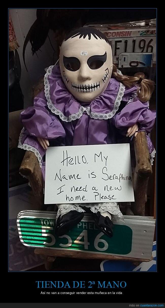 cartel,muñeca,segunda mano