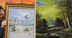 Enlace a Un artista añade motivos de ciencia ficción y fantasía a viejas pinturas de tiendas de segunda mano