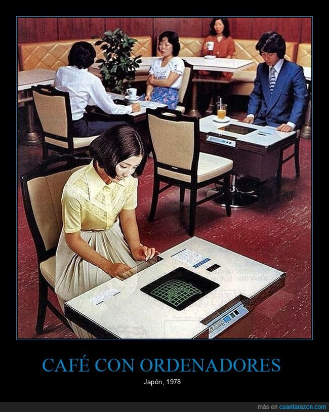 cafetería,japón,ordenadores,retro