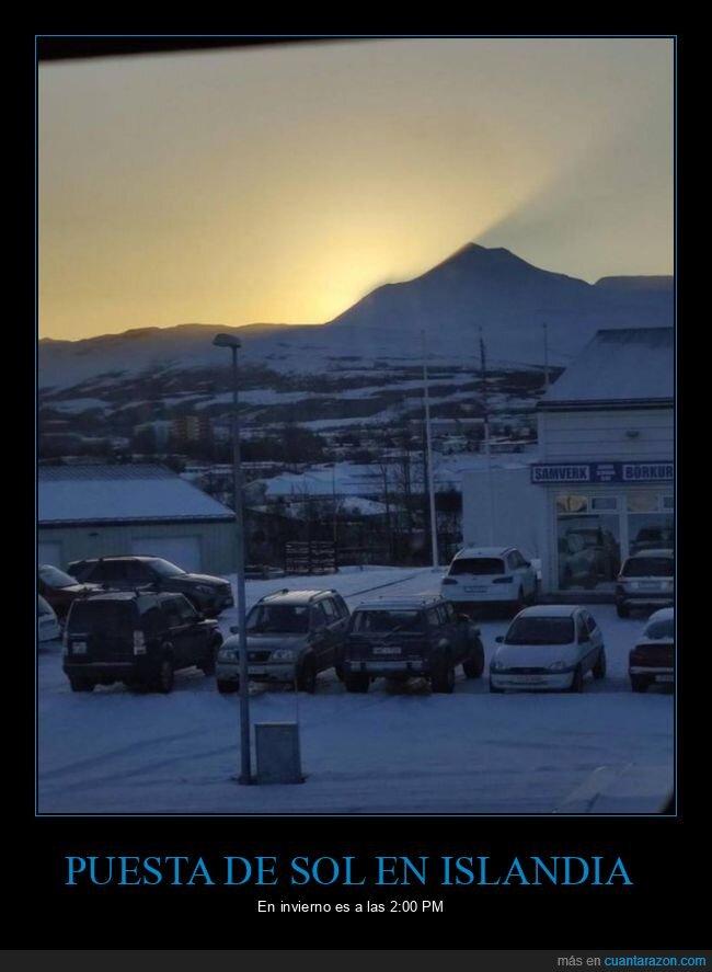 hora,invierno,islandia,pusta de sol