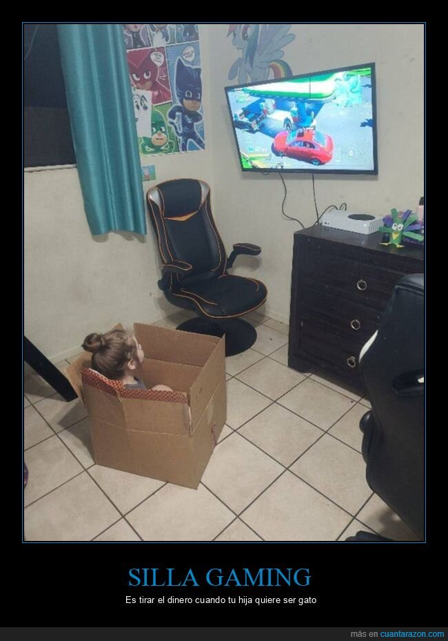 caja,niña,silla