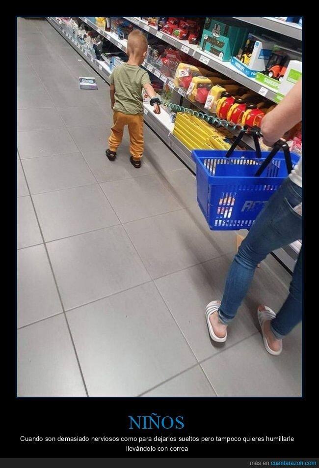 atado,niño,supermercado