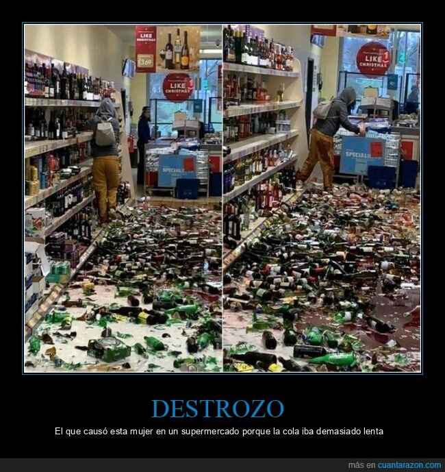 botellas,destrozo,supermercado,wtf