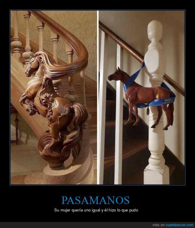 caballo,escaleras,expectativas,pasamanos,realidad