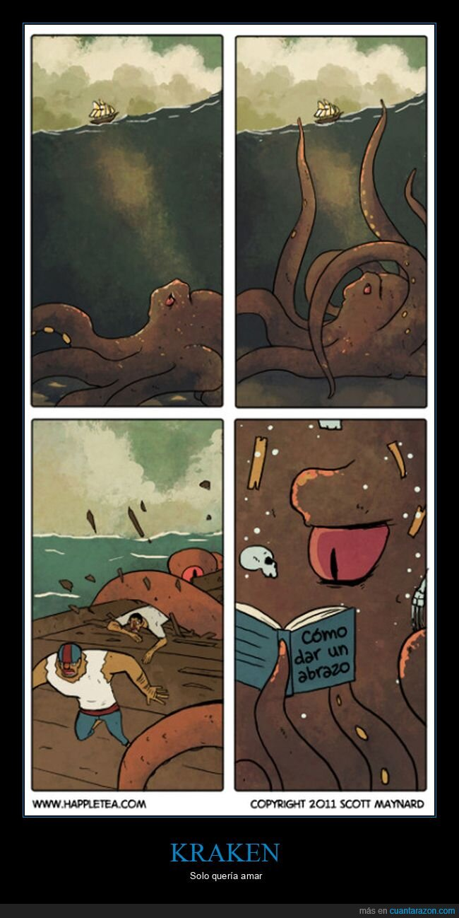 abrazos,barco,kraken