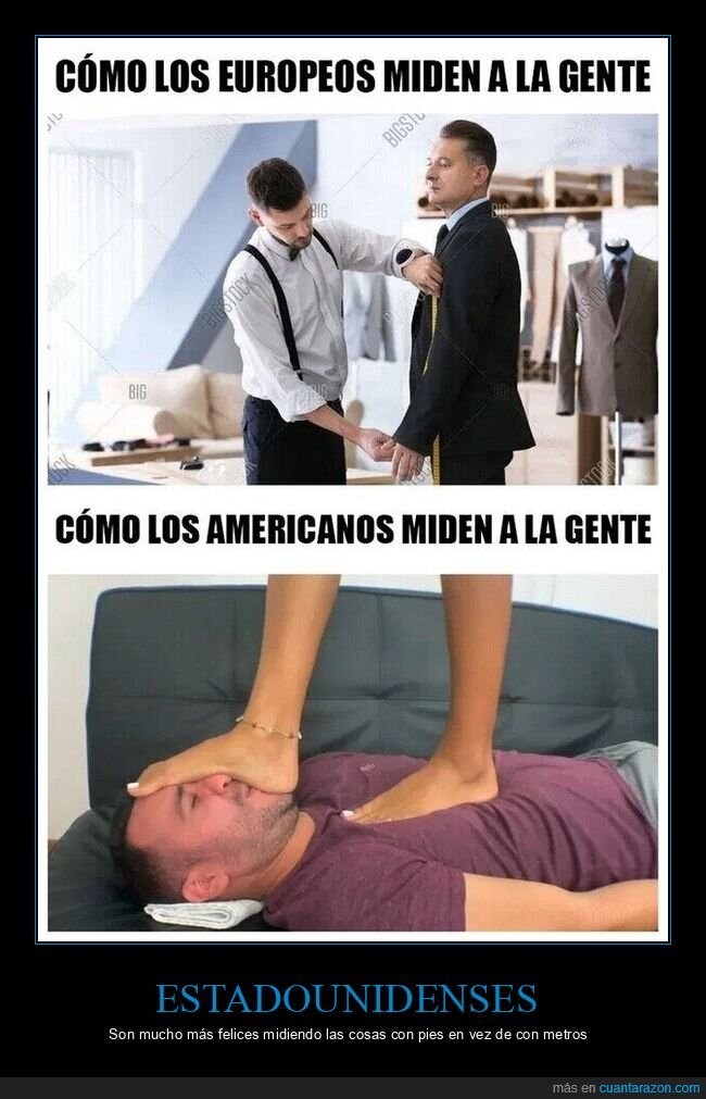 americanos,europeos,medir,metros,pies
