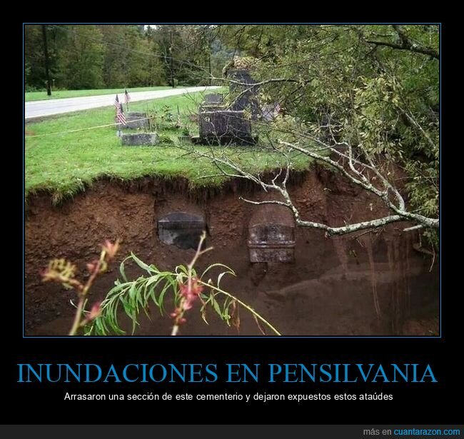 ataúdes,cementerio,inundaciones,pensilvania