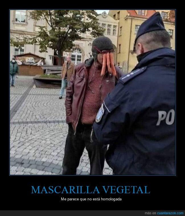 mascarilla,policía,zanahorias