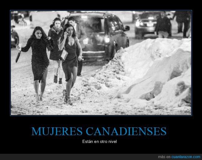 canadienses,frío,mujeres,nieve