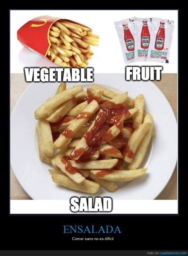 ensalada,ketchup,patatas