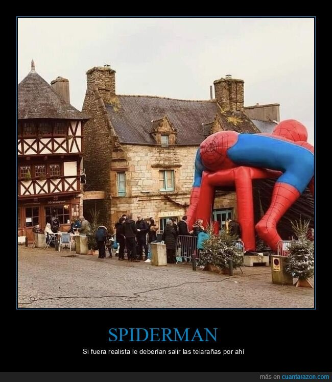 castillo hinchable,spiderman,wtf