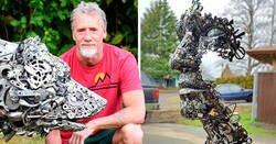 Enlace a Artista recolecta chatarra y la convierte en increíbles esculturas hechas de metal