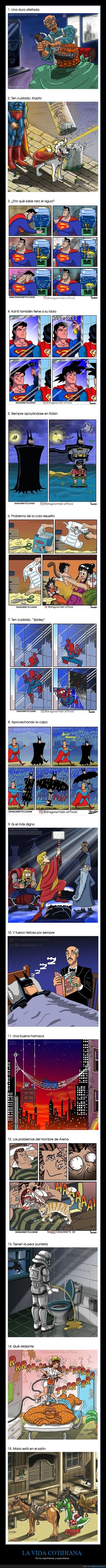 superhéroes,supervillanos,vida cotidiana