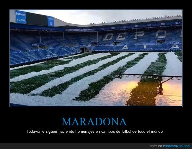 campo de fútbol,homenaje,maradona,rayas