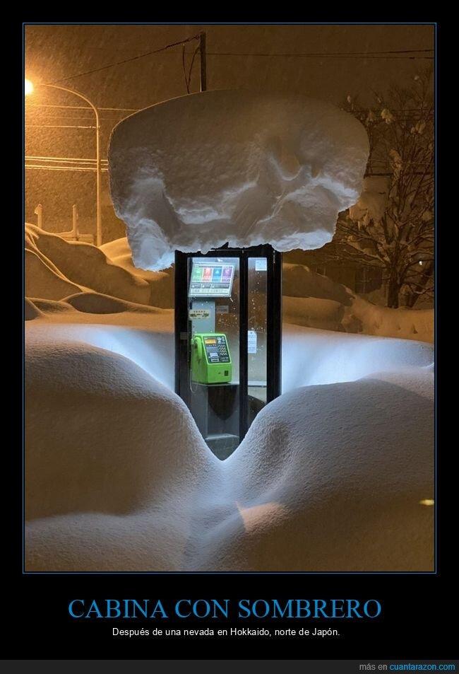 cabina telefónica,nieve