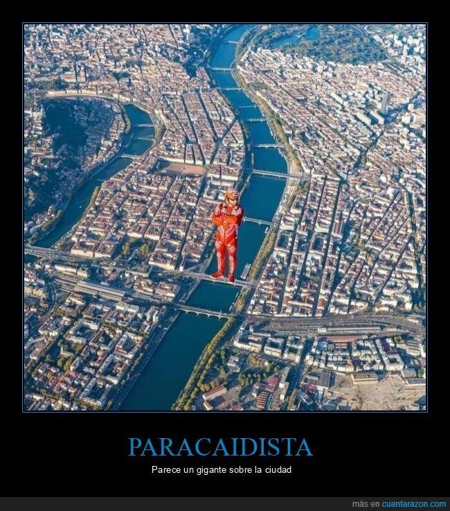 ciudad,gigante,paracaidista,perspectiva