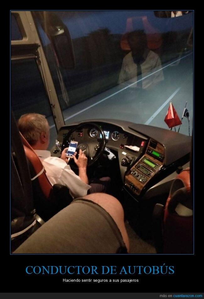 autobús,conductor,fumando,móvil