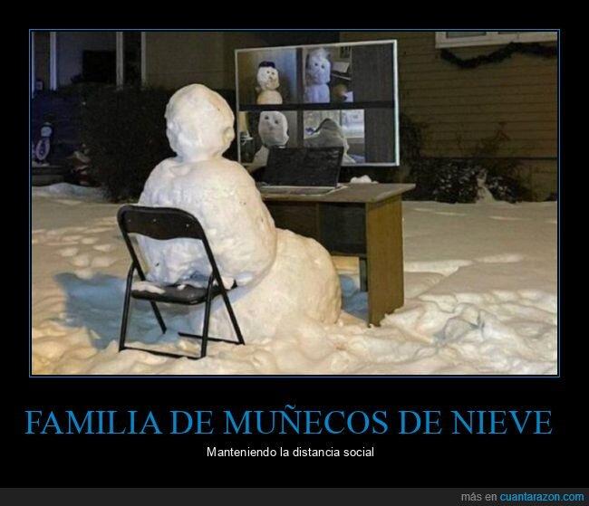 distancia social,familia,muñecos de nieve