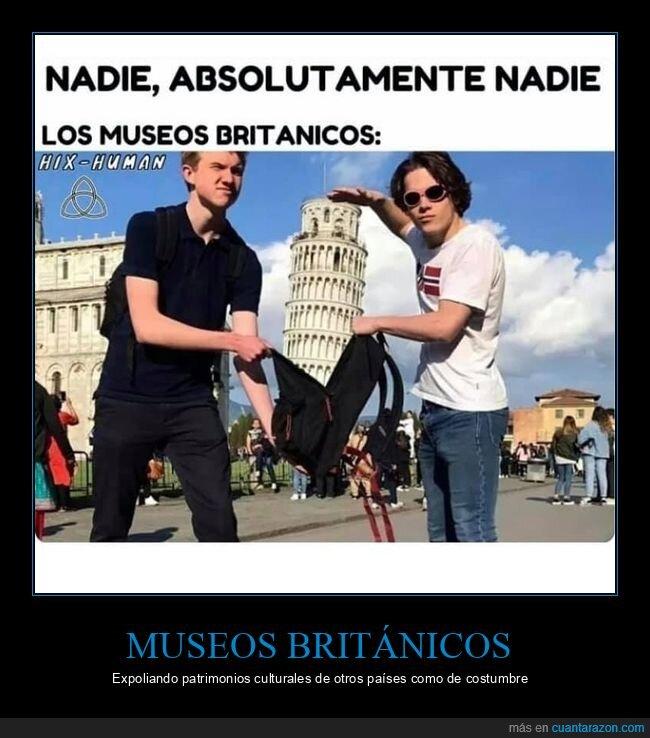 museos británicos,robando,torre de pisa