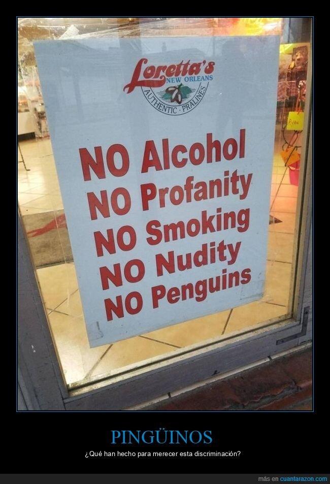 carteles,pingüinos,prohibiciones