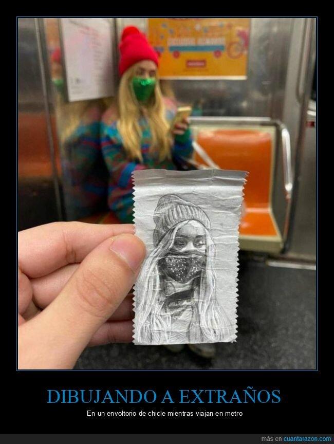 chicle,dibujo,envoltorio,metro