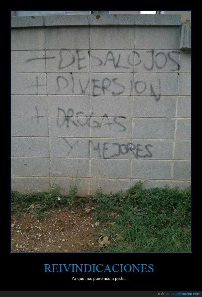 desalojos,diversión,drogas,graffitis