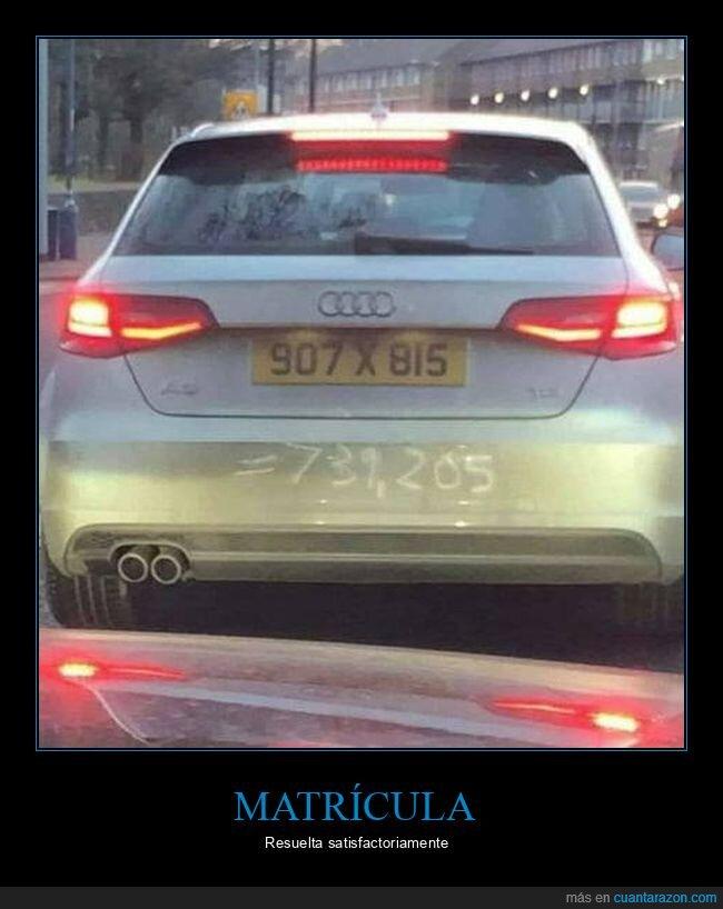 coches,matrícula,multiplicación,resultado