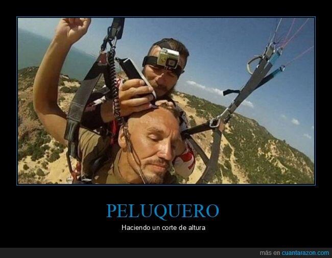 corte de pelo,paracaídas,wtf